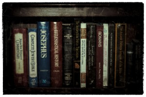 Shelf of books to study the Bible with