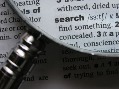Bibel study of words- a magnifying glass to search