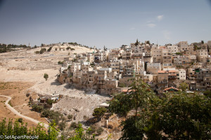 The Mount of Olives in Jerusalem.  Seen from the City of David.