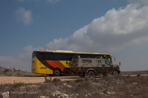 Armour plated bus an military escort on Mount Ebal whn visiting the altar of Joshua