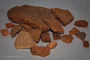 Some of the potshreds we found on Mount Ebal dating from the early settlement period of Israel