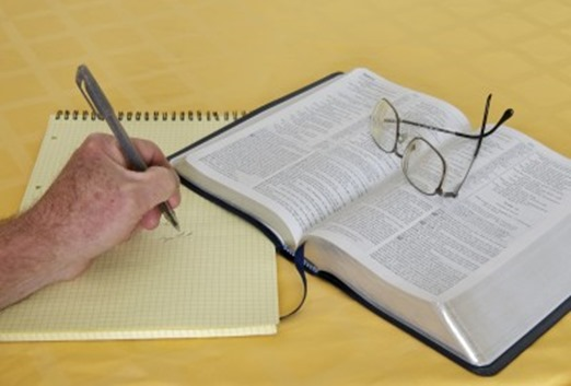 Bible study with your Bible and some notes