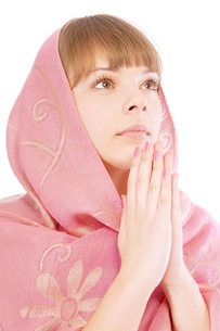 Prayer - a woman with a head covering