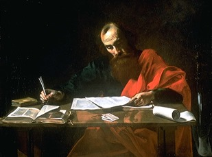 "(Probably) Valentin de Boulogne (ca 1594-1632), Saint Paul Writing His Epistles (c. 1618-20), oil on canvas, 39-1/8 x 52-3/8"", Blaffer Foundation Collection, Museum of Fine Arts, Houston, TX."