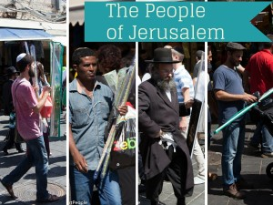 All sorts of people during the feast of Sukkot in Jerusalem.