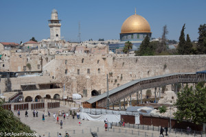 The Western wall complex with a view of the Temple Mount.